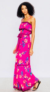 Fuschia Floral Maxi Dress with Adjustable Straps
