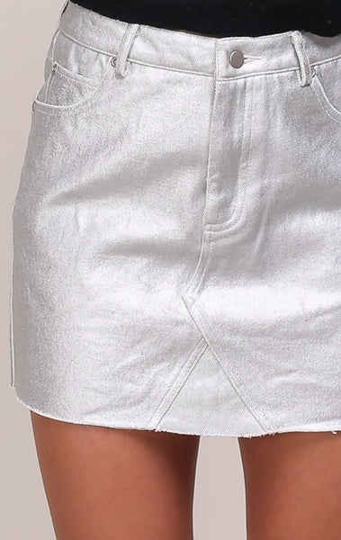 """Slay all Day"" Metallic Silver Denim Skirt"