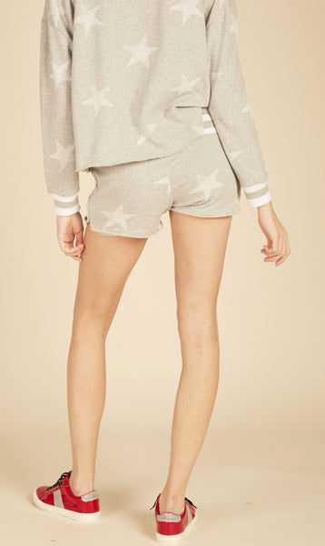 Grey Burnout Shorts with White Stars