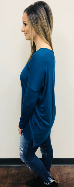 """Dion"" V Neck Long Sleeve Tunic"