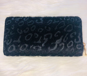 Black Fuzzy Leopard Wallet with Gold Zipper