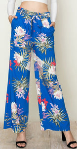 Blue Tropical Wide Leg Pants
