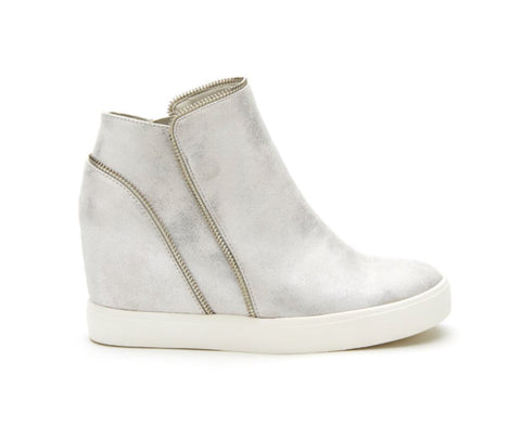 Matisse Metallic Wedge Sneaker with Zipper Detail