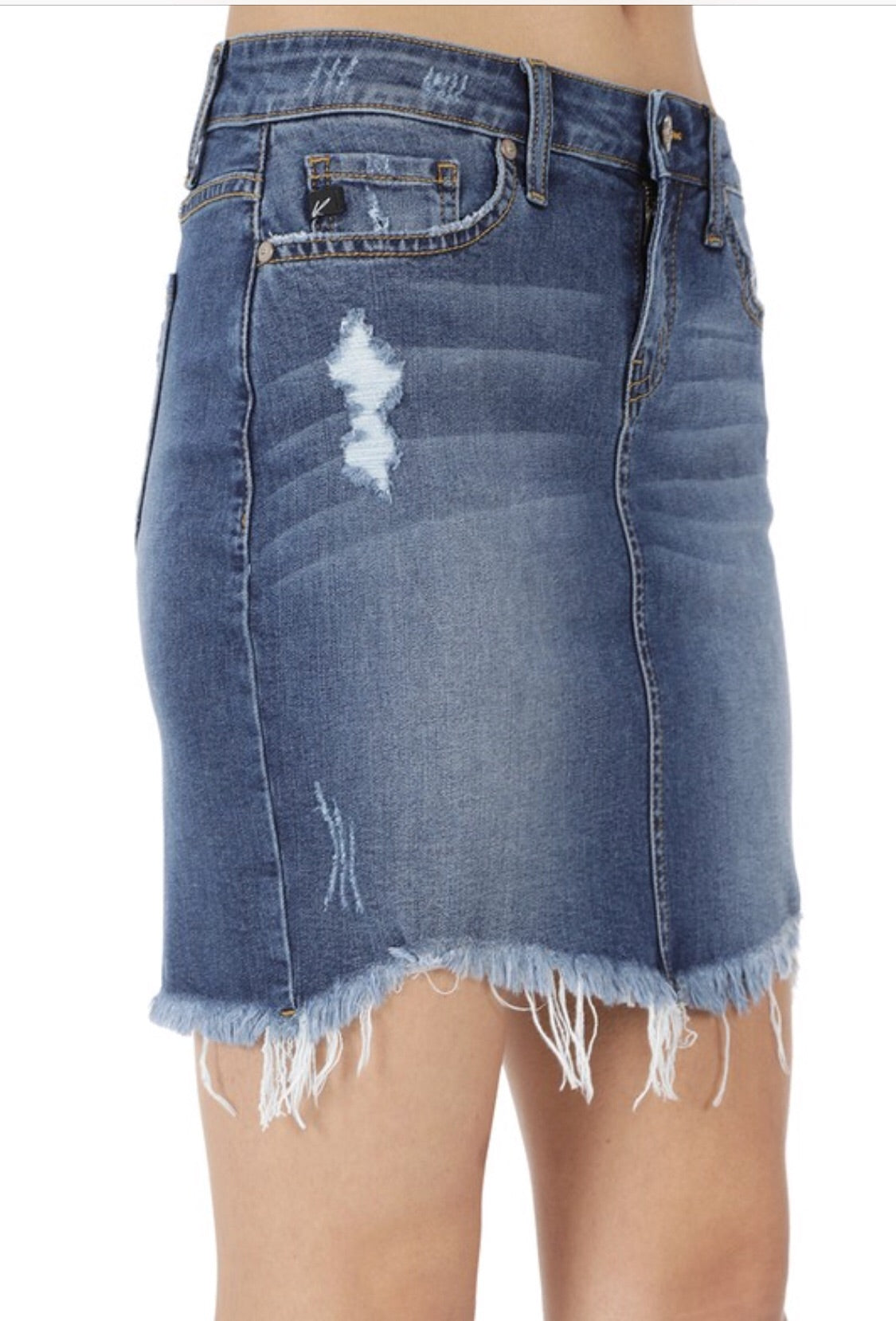 """In The Mood"" Distresses Medium Denim Skirt"