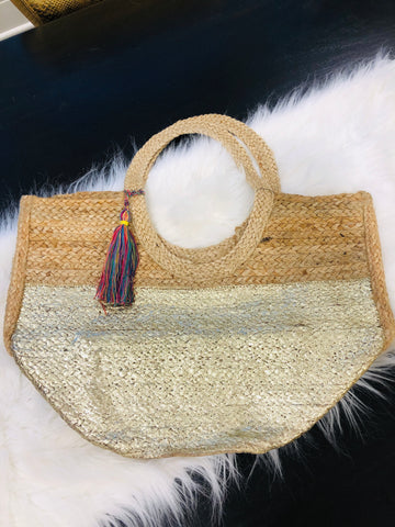 Gold Jute Beach/Carry All Bag