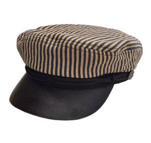 Striped Fisherman Hat with a Leather Bill