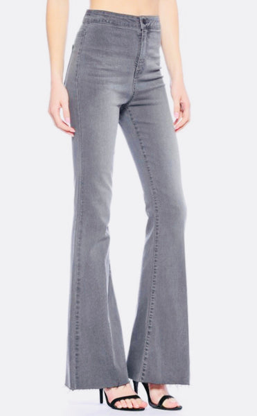 "Grey ""You Are Fierce"" High Rise Flares"