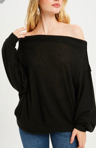 """Blythe"" Black Lightweight Sweater with Dolman Sleeves"