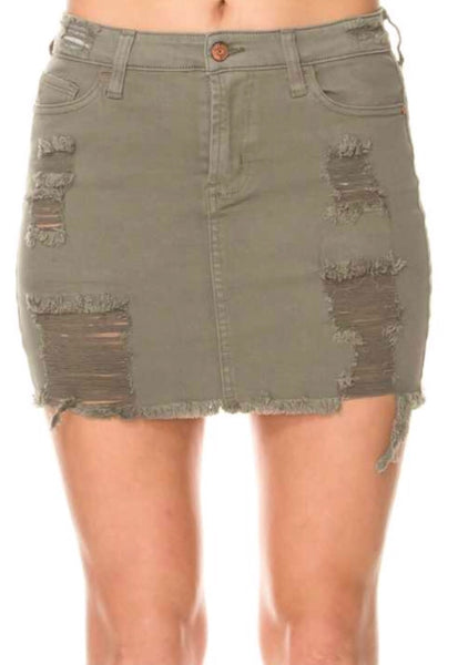 """Andrea"" Olive Distressed Mini Skirt"
