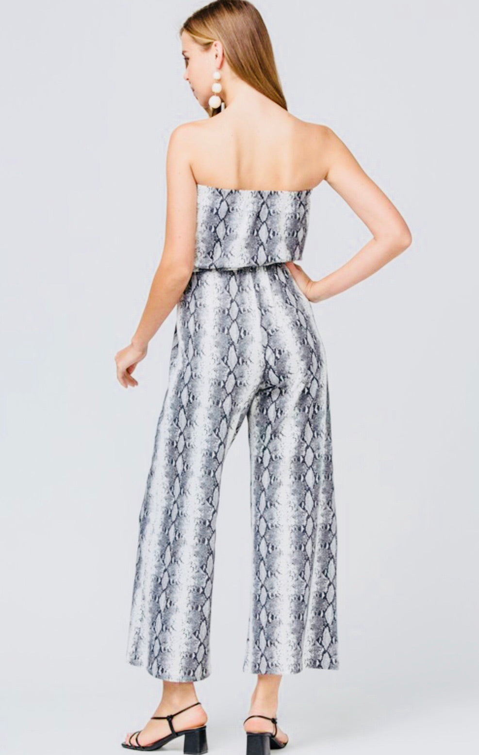 Grey Strapless Snake Jumpsuit