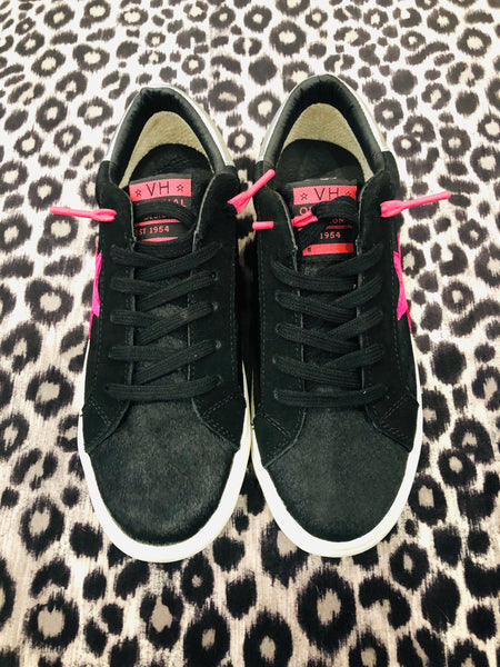 Black and Hot Pink Star Pop Sneakers