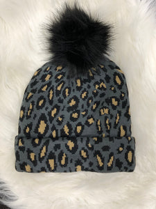Grey Leopard Stocking Hat