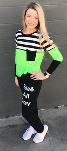 Neon Stripe Top with Pocket