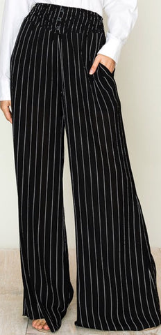 Black and White Striped Wide Leg Pants