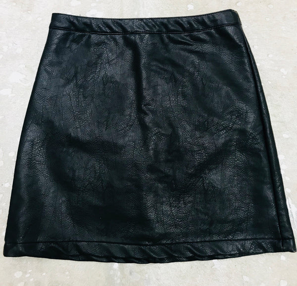 """Marissa"" Faux Leather Mini Skirt with Zipper in Back"
