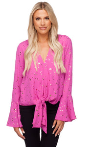 """Samantha"" Buddy Love Pink and Gold Star Bell Sleeve Tie Top"