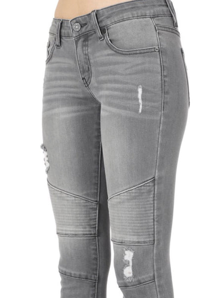 """The Grey Luxe Edition"" Distressed Moto Jeans"