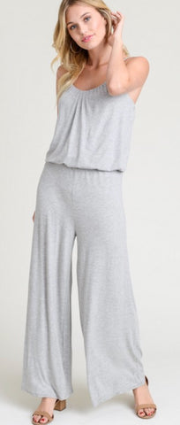 """Lucinda"" Grey Knit Wide Leg Jumpsuit with Adjustable Straps"