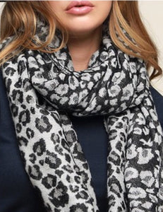 Black Leopard Scarf With Fringe