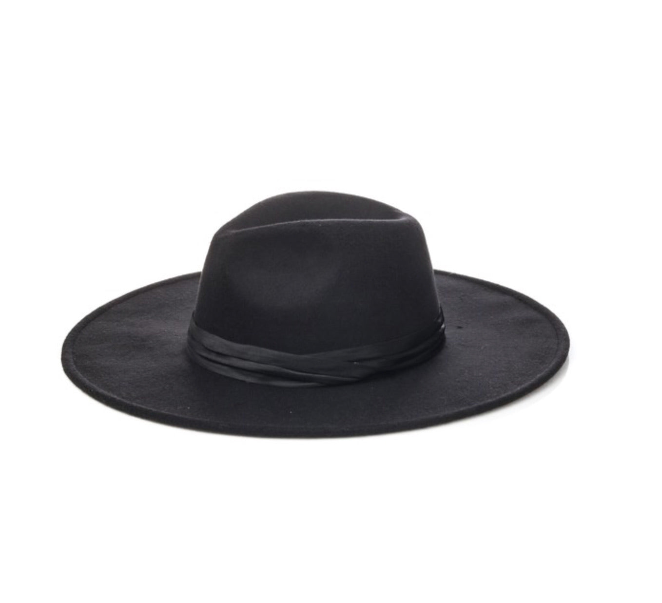 Black And Satin Wide Brim Panama Hat