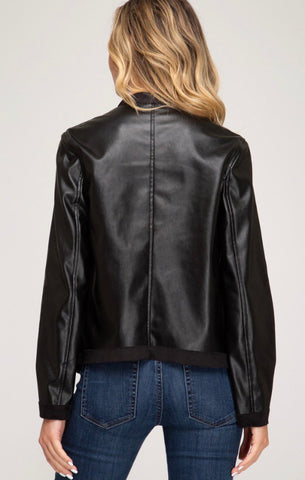 Black Faux Leather Drape Jacket