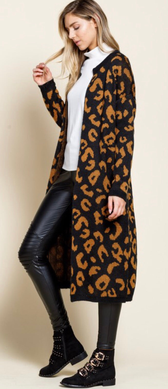 Black and Camel Leopard Long Cardigan