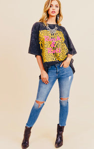 Black Faded Leopard Oversized Rock and Roll Tee