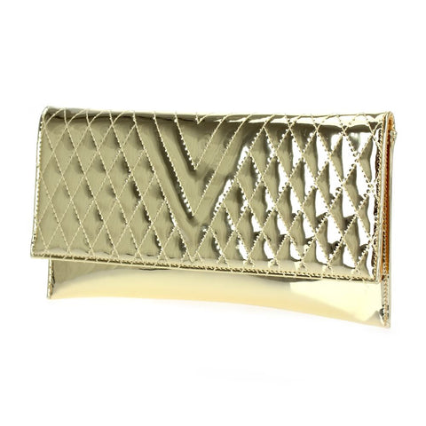 Quilted Metallic Gold Clutch with Detached Chain