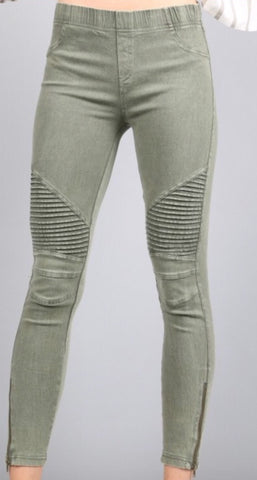 Olive Moto Ankle Jegging with Zipper