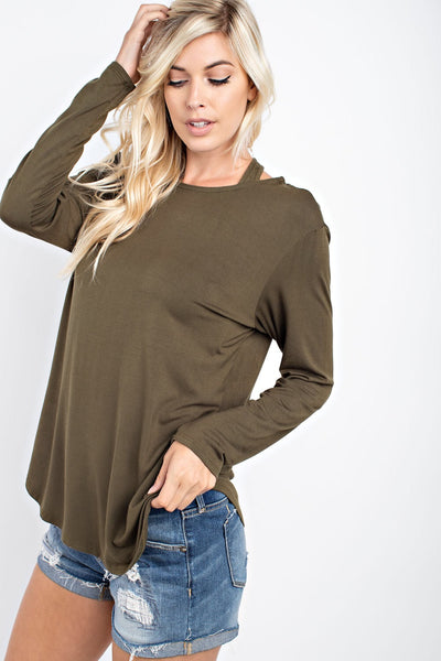 Olive Long Sleeve Tee With Detail Back