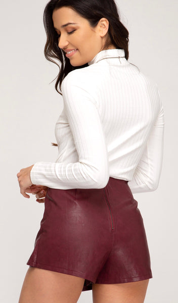 Wine Faux Leather Skort