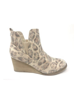Cream Leopard Wedge Bootie