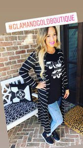 Black and White Knit Duster