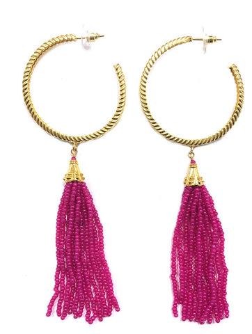 """Pink"" Hoop Beaded Tassel Earrings"