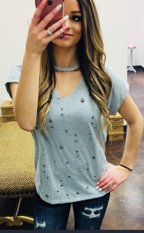 """Daria"" Distressed Choker V Neck Top"