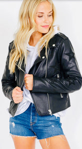 """Oh My Stars"" Vegan Faux Leather Moto Jacket"
