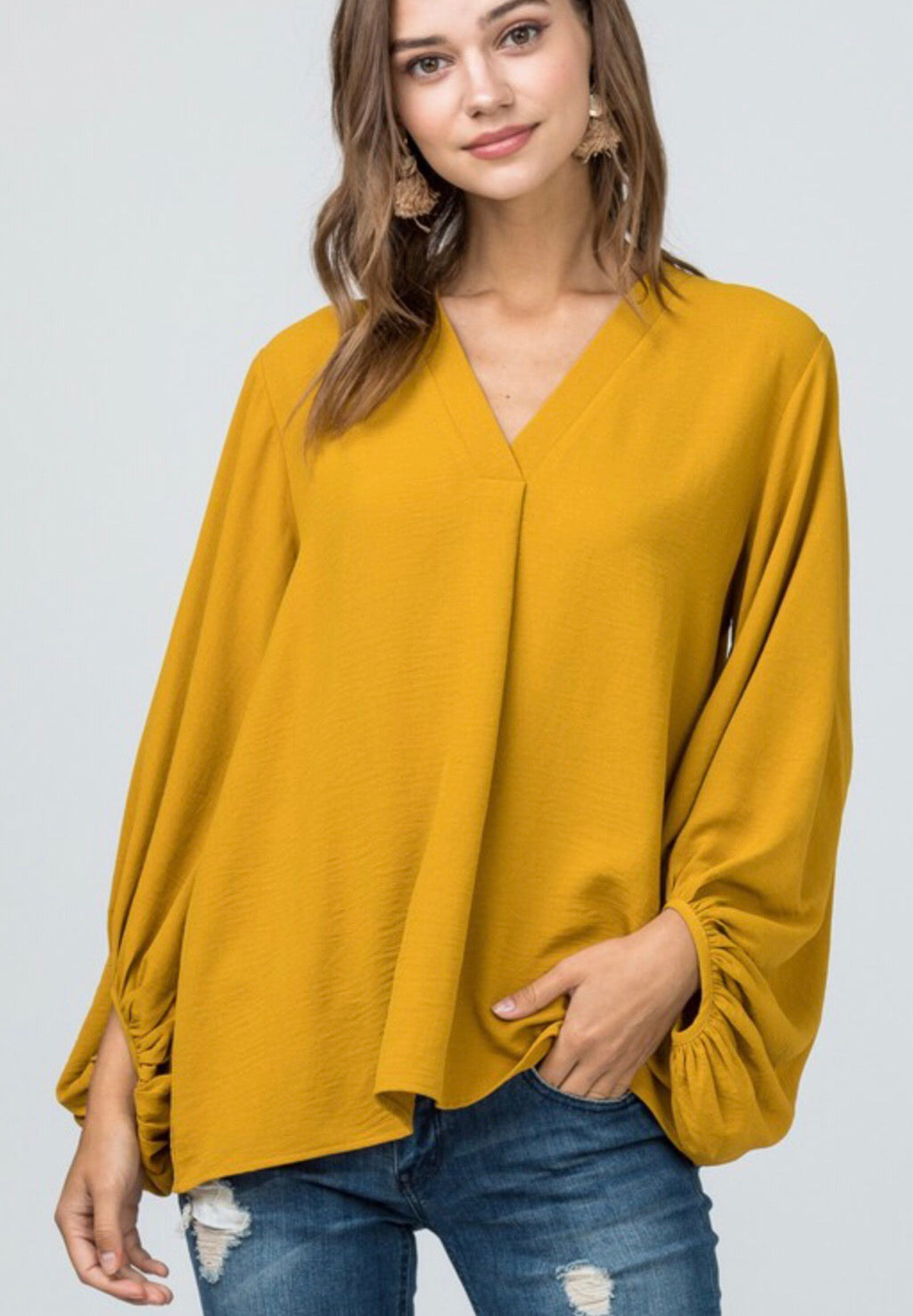 Mustard Bubble Sleeve Top
