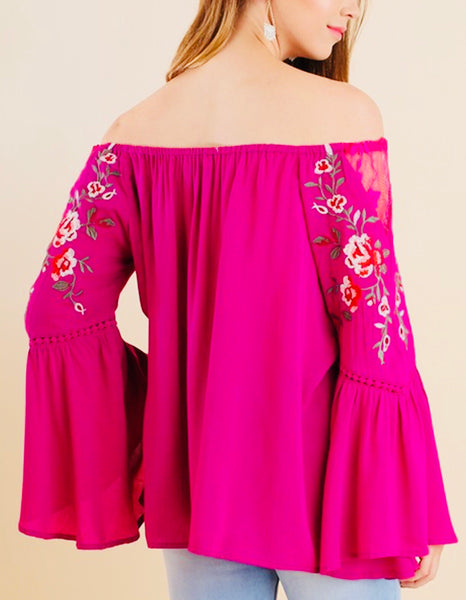 Fuchsia Off The Shoulder Embroidered Top