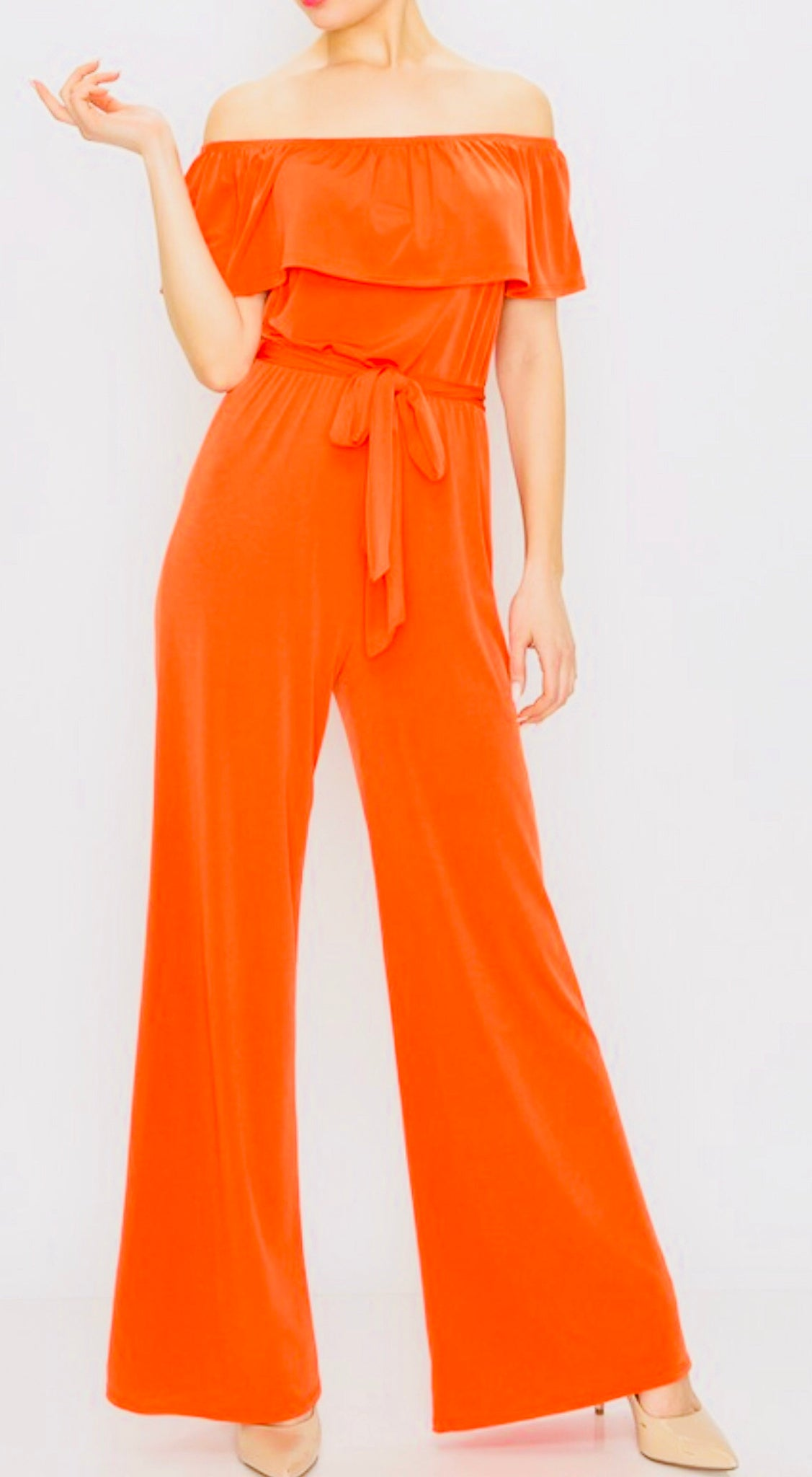 """Always Stunning"" Orange Off The Shoulder Jumpsuit"