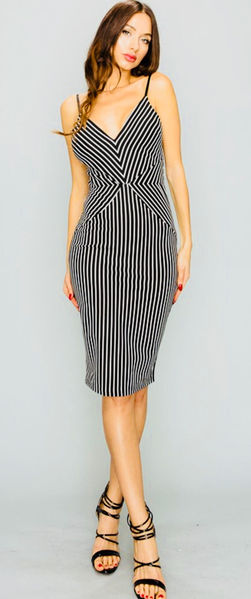 Pin Striped Bodycon Dress