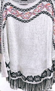 Chenille Off White Poncho with Fringe