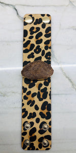 Leopard Leather Bracelet with Druzy Stone