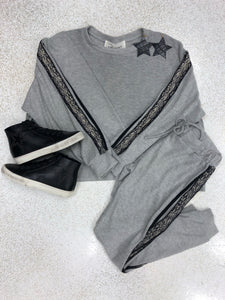 Grey Raw Edge Sweatshirt with Lace/Snake Detail
