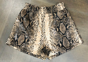 """Farrah"" Snake Faux Leather Shorts"