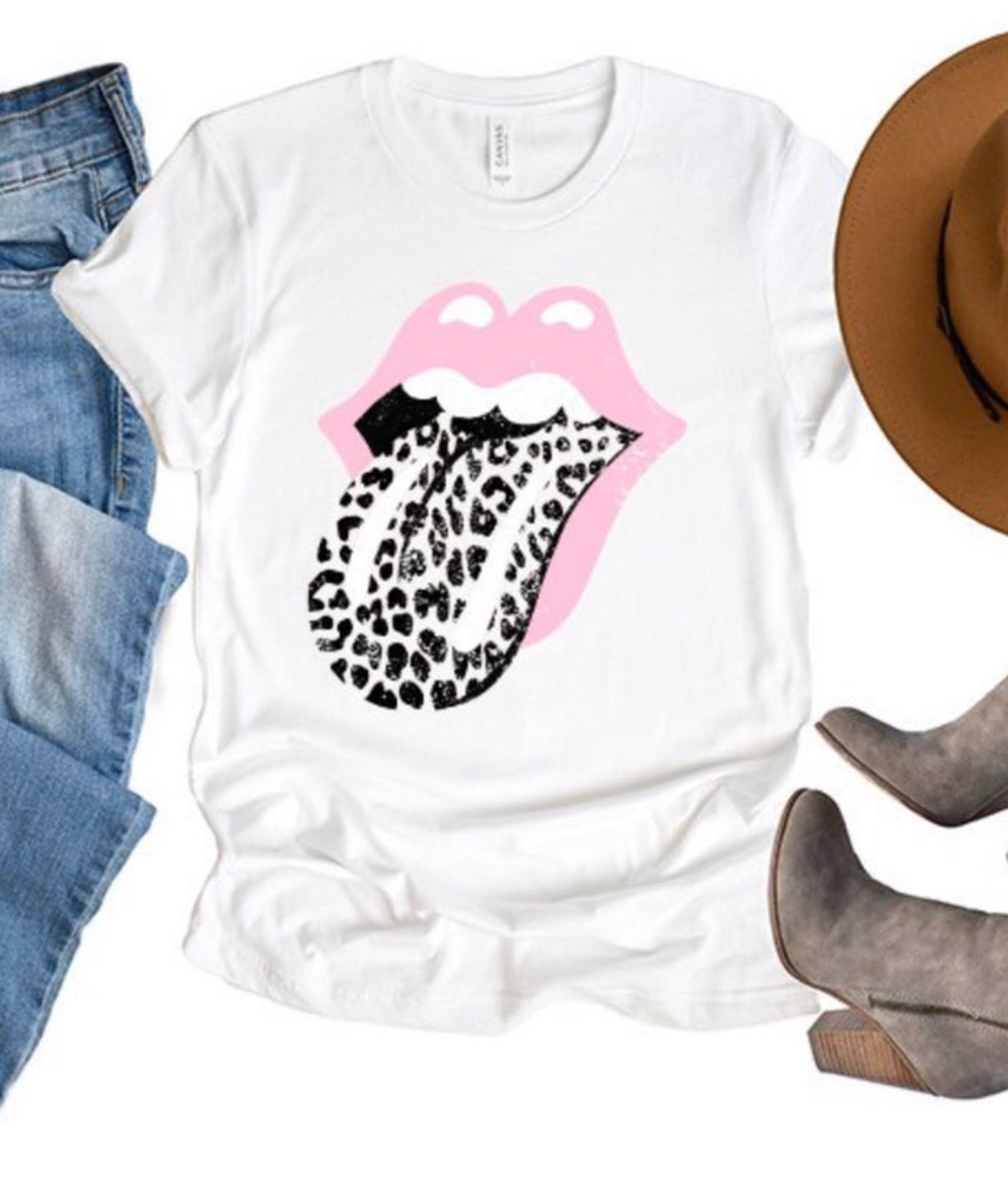 White With Pink and Leopard Rolling Stone Graphic Tee