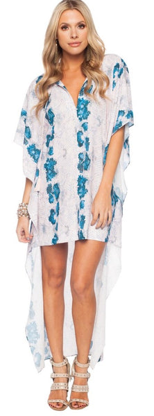 """Lola"" Pink and Blue Snake Print Hi Low Dress/Top"