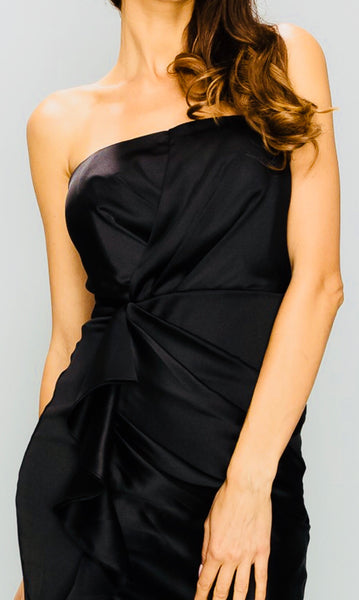 Black Satin Strapless LBD
