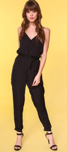 """Take Me to Cali"" Black Jogger Jumpsuit with Adjustable Straps"