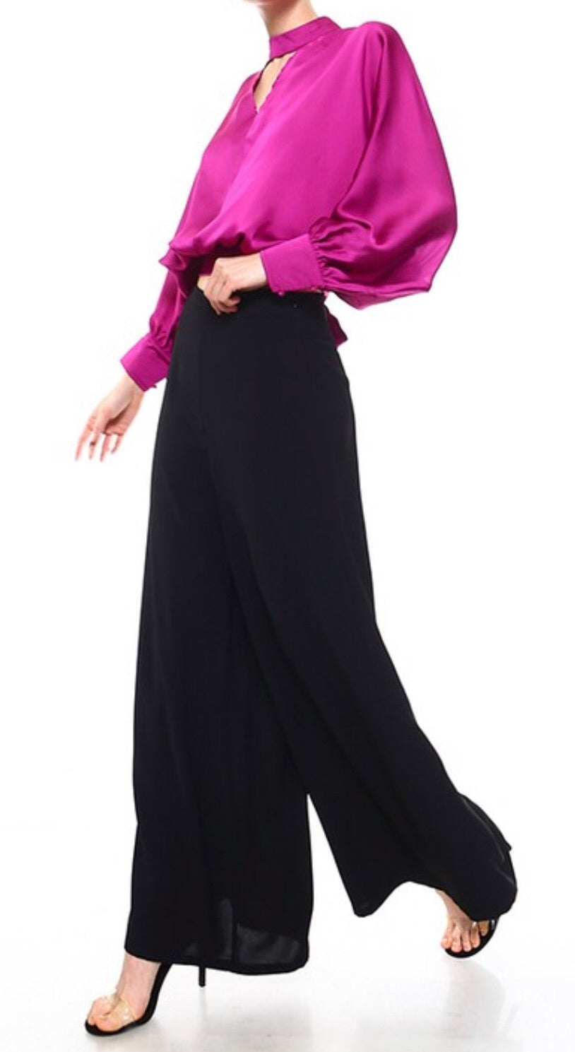 Magenta Dolman Sleeve Satin Top with Tie