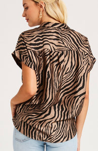 Mocha/Black Zebra Tie Top